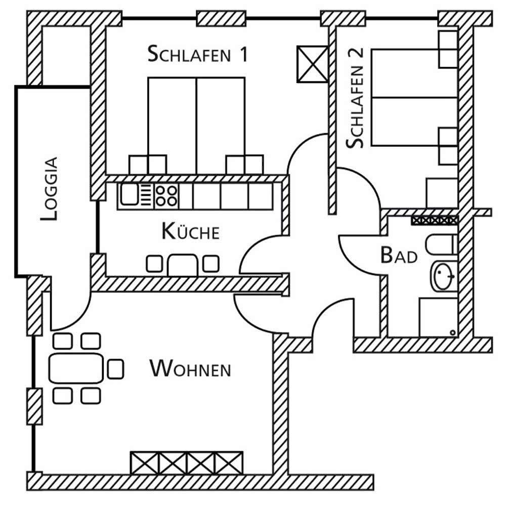 Gästewohnung Bornstraße Grundriss